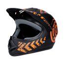 Motorradhelm Schwarz-Orange Matt Quad Damen Herren...