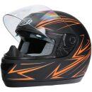 Integralhelm Mit Sonnenblende Schwarz-Orange Matt Helm Motorradhelm Klapphelm