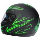 Integralhelm Mit Sonnenblende Schwarz-Grün Matt Helm Motorradhelm Klapphelm